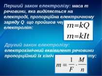 Перший закон електролізу: маса m речовини, яка виділяється на електроді, проп...