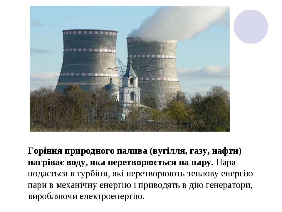Горіння природного палива (вугілля, газу, нафти) нагріває воду, яка перетворю...