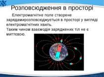 Розповсюдження в просторі Електромагнітне поле створене зарядамирозповсюджуєт...