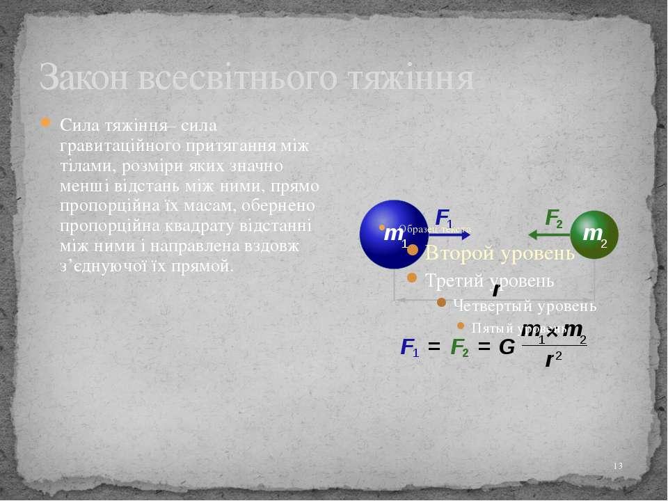 Закон всесвітнього тяжіння Сила тяжіння– сила гравитаційного притягання між т...