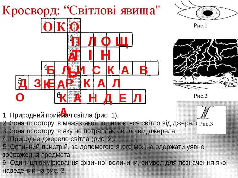 """О К О Кросворд: """"Світлові явища"""" 1. Природний приймач світла (рис. 1). 2. Зон..."""