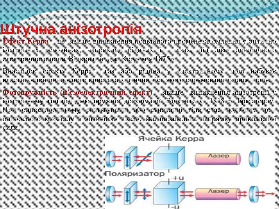 Штучна анізотропія Ефект Керра – це явище виникнення подвійного променезаломл...