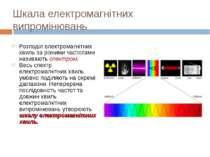 Шкала електромагнітних випромінювань Розподіл електромагнітних хвиль за різни...