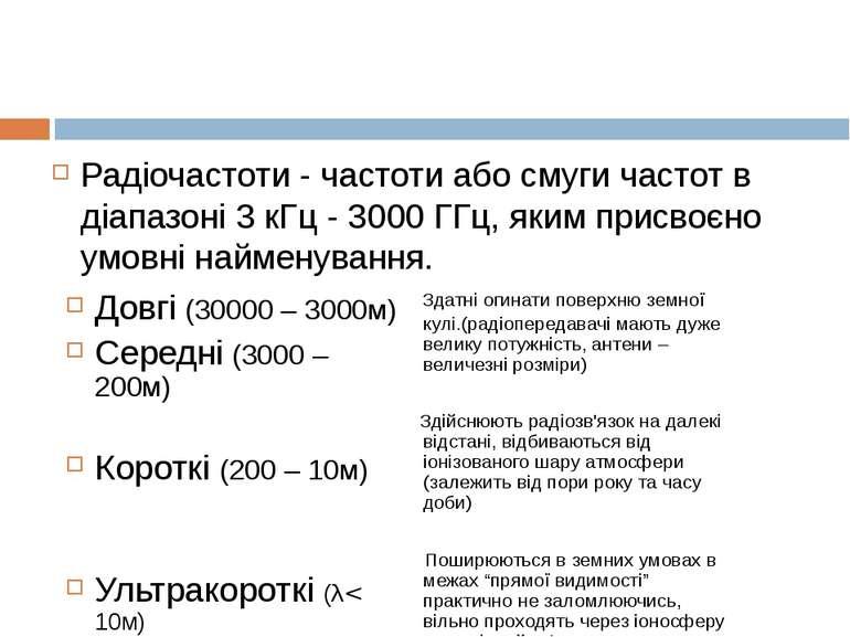 Радіочастоти - частоти або смуги частот в діапазоні 3 кГц - 3000 ГГц, яким пр...