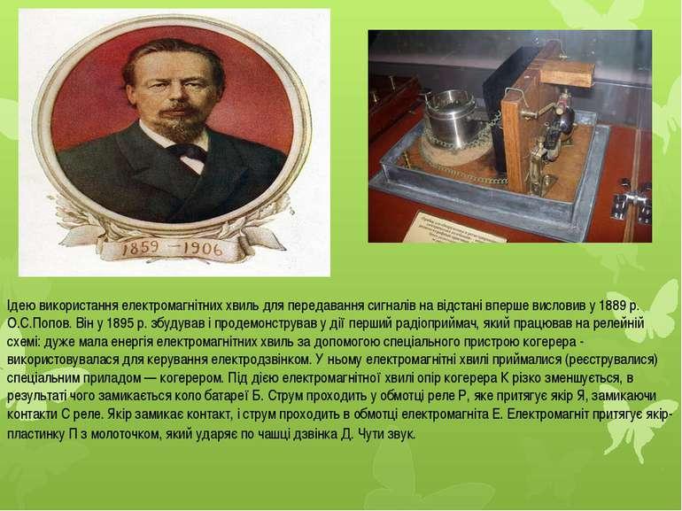 Ідею використання електромагнітних хвиль для передавання сигналів на відстані...