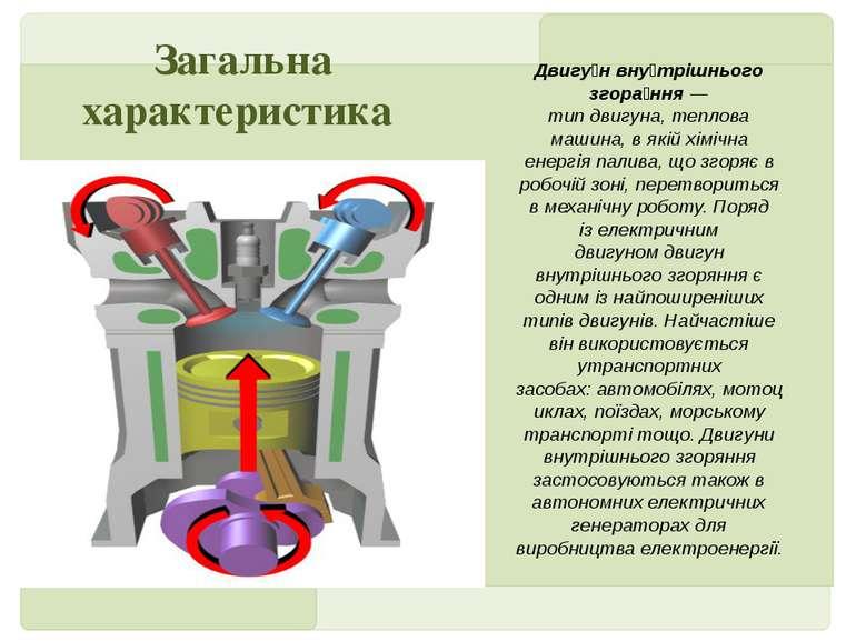 Двигу н вну трішнього згора ння— типдвигуна,теплова машина, в якійхімічна...