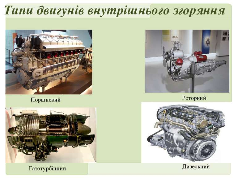 Типи двигунів внутрішнього згоряння Поршневий Роторний Газотурбінний Дизельни...