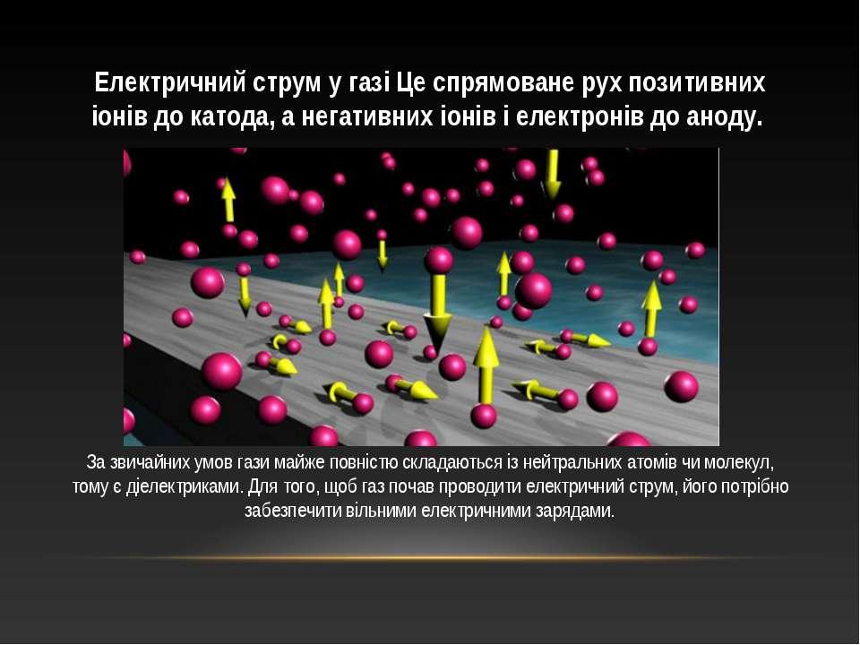 Електричний струм у газі Це спрямоване рух позитивних іонів до катода, а нега...