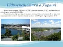 Згідно з результатами 2011 року на ГЕС в Україні припадає 12,4 % всієї виробл...
