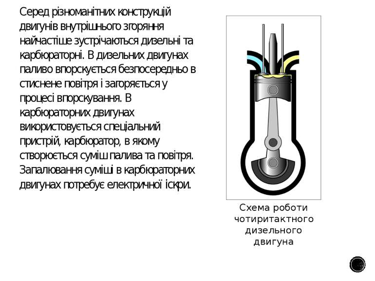 Серед різноманітних конструкцій двигунів внутрішнього згоряння найчастіше зус...