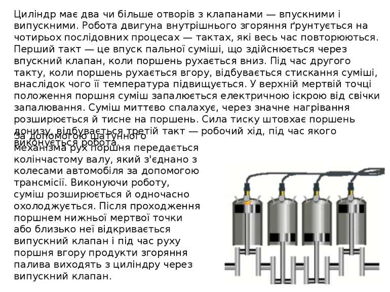 Циліндр має два чи більше отворів з клапанами — впускними і випускними. Робот...
