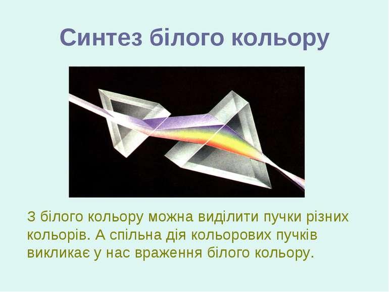 Синтез білого кольору З білого кольору можна виділити пучки різних кольорів. ...