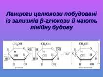 Ланцюги целюлози побудовані із залишків β-глюкози й мають лінійну будову