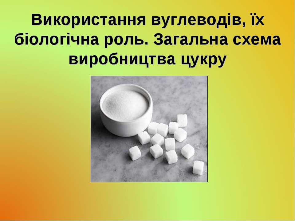 Використання вуглеводів, їх біологічна роль. Загальна схема виробництва цукру