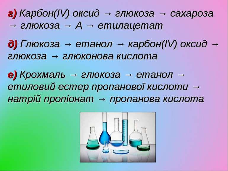 г) Карбон(IV) оксид → глюкоза → сахароза → глюкоза → А → етилацетат д) Глюкоз...