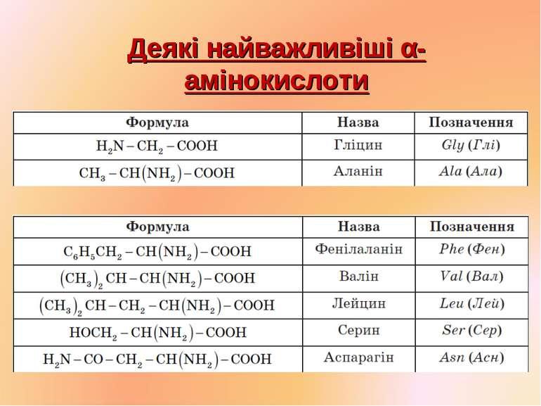 Деякі найважливіші α-амінокислоти