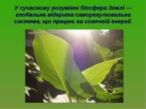 У сучасному розумінні біосфера Землі — глобальна відкрита саморегулювальна си...