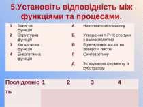 5.Установіть відповідність між функціями та процесами. 1 Захисна функція А На...