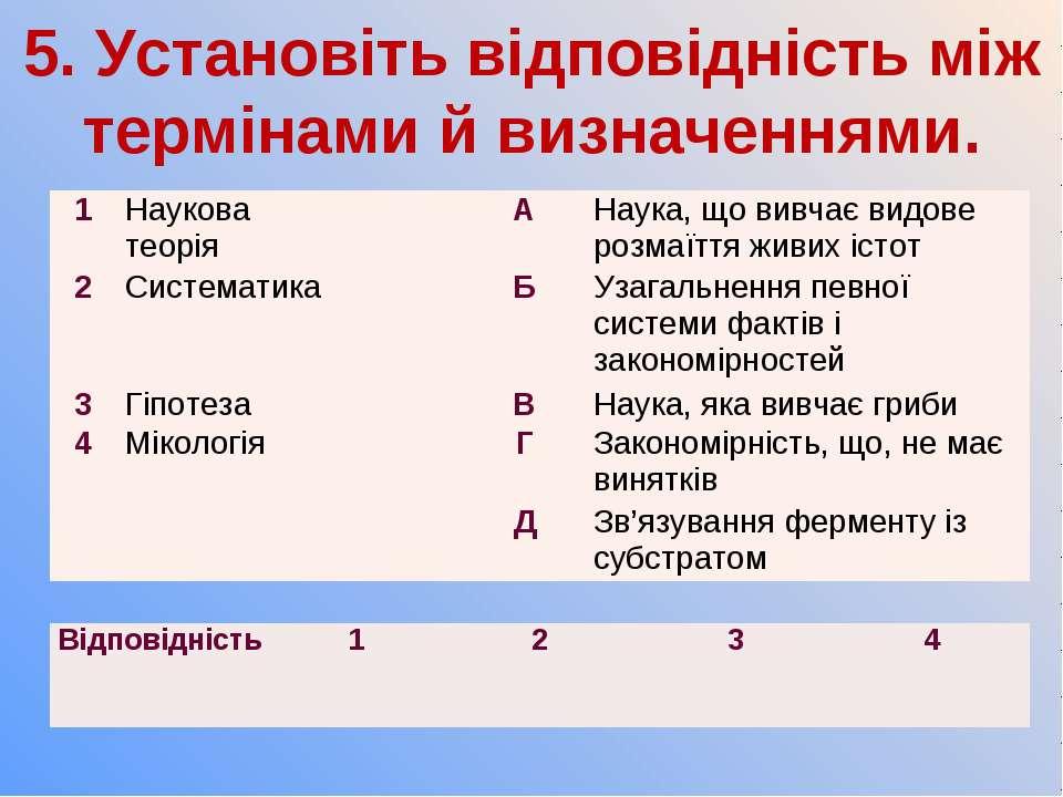 5. Установіть відповідність між термінами й визначеннями. 1 Наукова теорія А ...