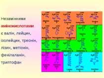 Незамінними амінокислотами є валін, лейцин, ізолейцин, треонін, лізин, метіон...