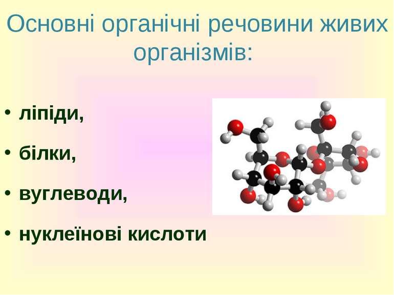 Основні органічні речовини живих організмів: ліпіди, білки, вуглеводи, нуклеї...