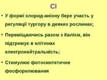 Cl У формі хлорид-аніону бере участь у регуляції тургору в деяких рослинах; П...