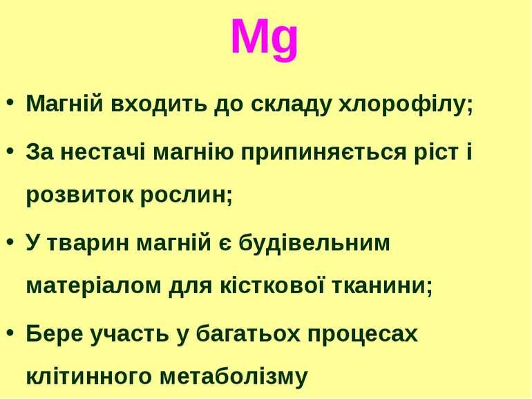 Mg Магній входить до складу хлорофілу; За нестачі магнію припиняється ріст і ...