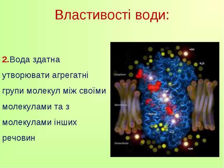 Властивості води: 2.Вода здатна утворювати агрегатні групи молекул між своїми...