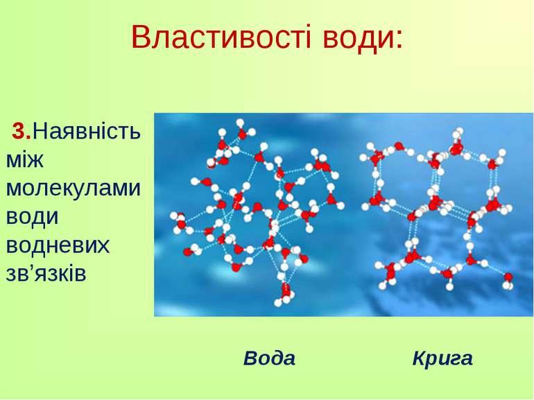 3.Наявність між молекулами води водневих зв'язків Властивості води: Вода Крига
