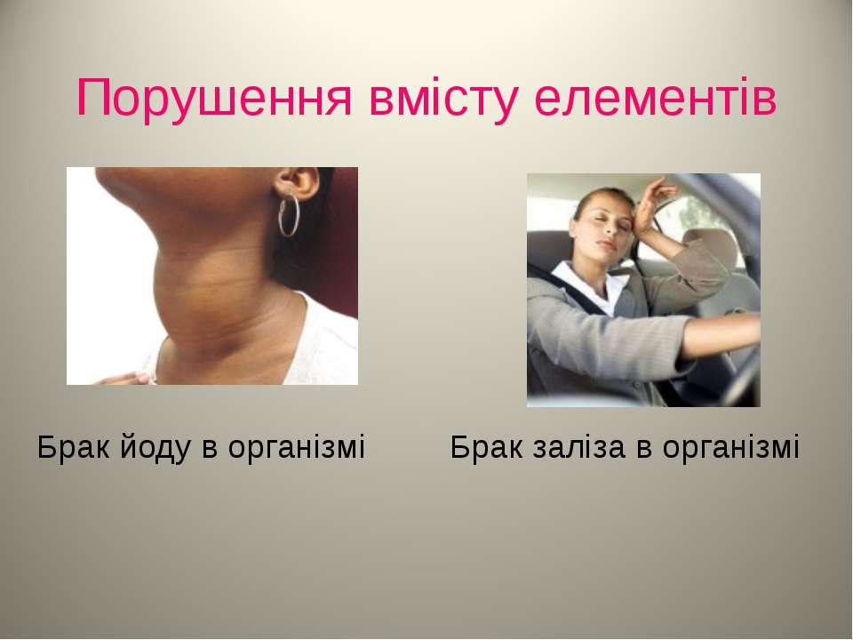Порушення вмісту елементів Брак йоду в організмі Брак заліза в організмі