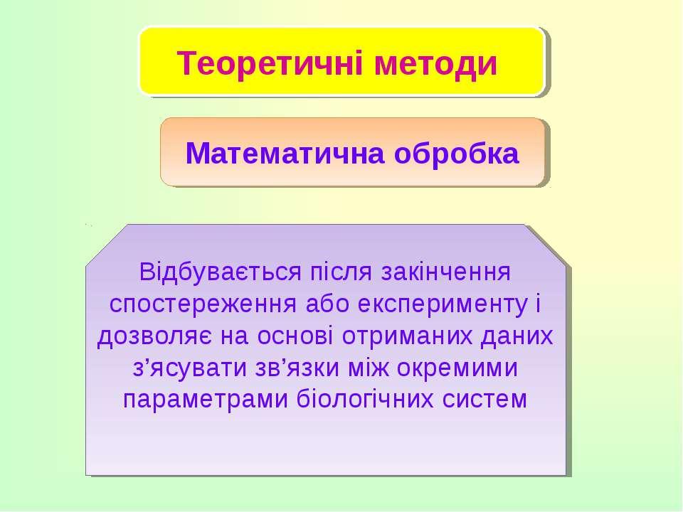 Теоретичні методи Математична обробка Відбувається після закінчення спостереж...