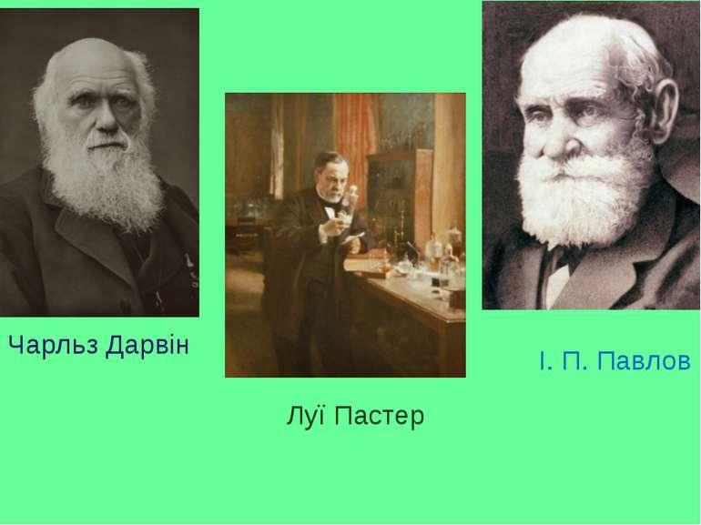 Чарльз Дарвін Луї Пастер І. П. Павлов