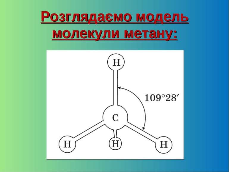 Розглядаємо модель молекули метану: