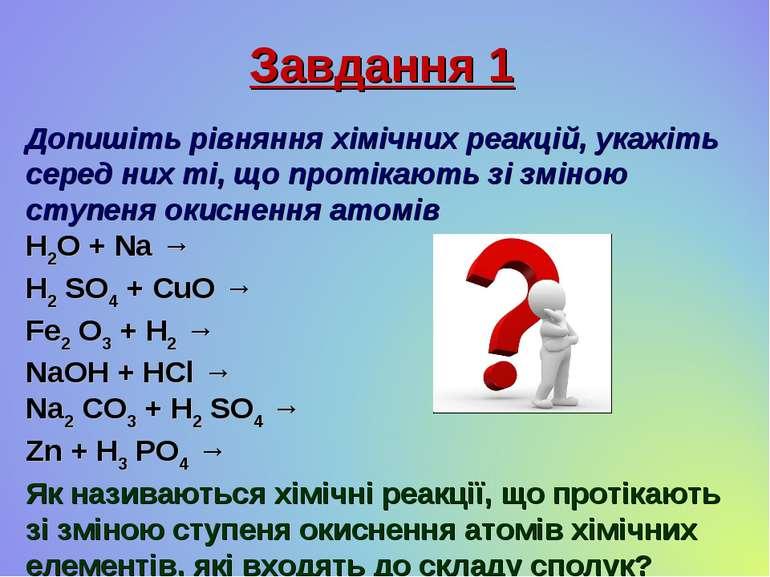 Завдання 1 Допишіть рівняння хімічних реакцій, укажіть серед них ті, що проті...