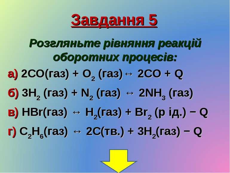 Завдання 5 Розгляньте рівняння реакцій оборотних процесів: а) 2CO(газ) + O2 (...