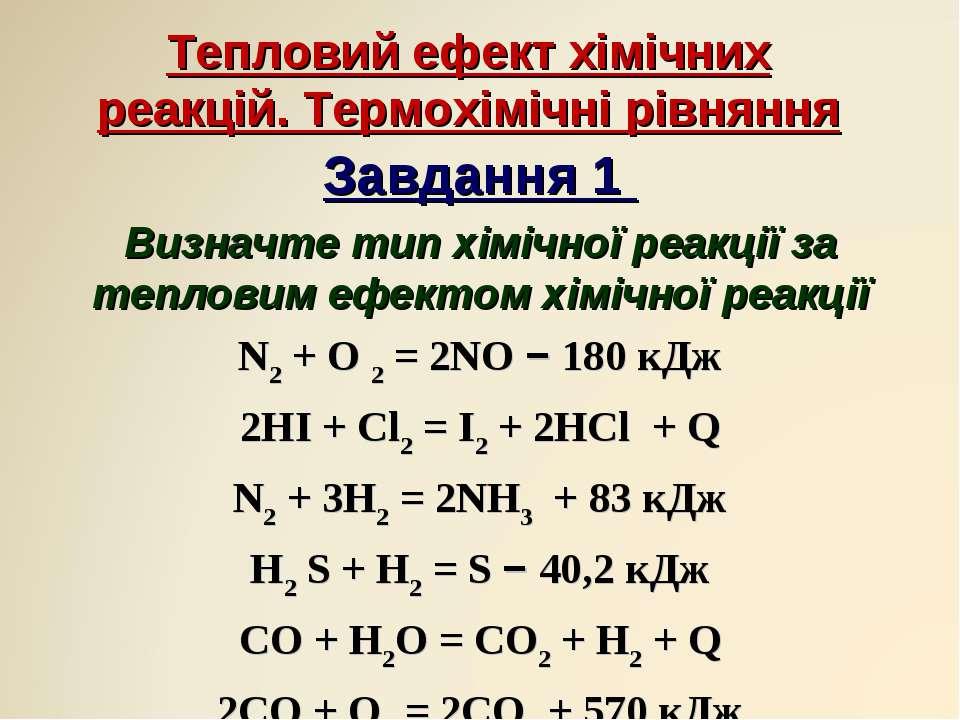 Тепловий ефект хімічних реакцій. Термохімічні рівняння Завдання 1 Визначте ти...