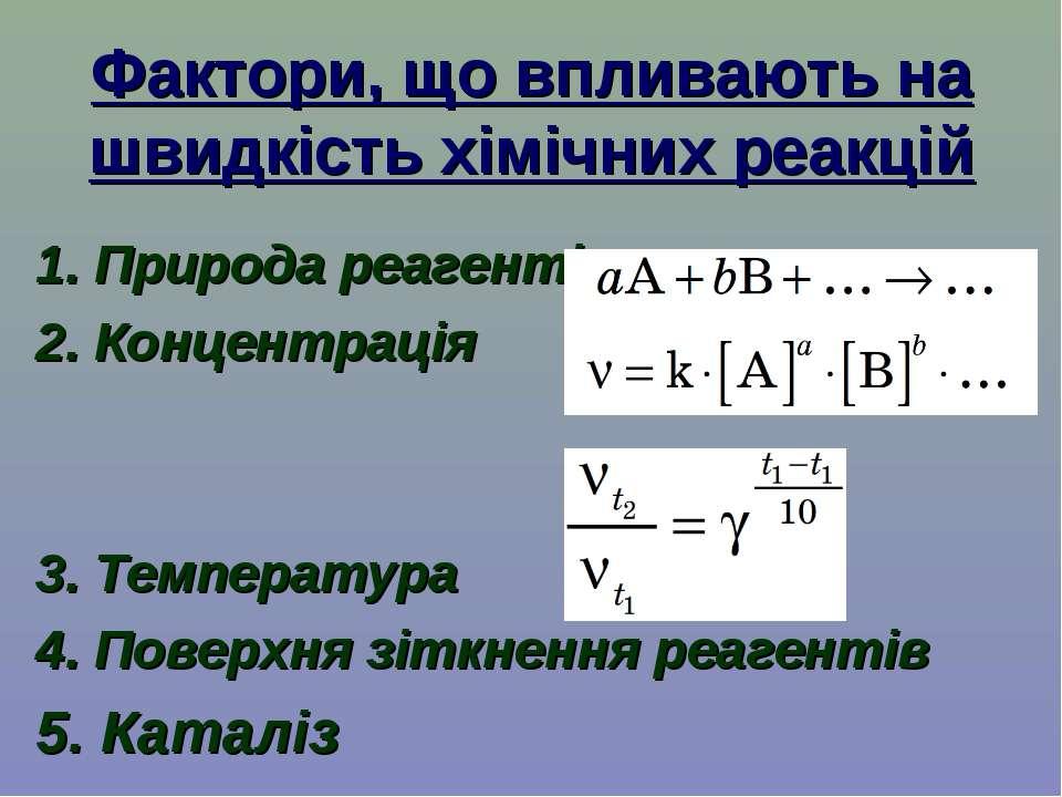 Фактори, що впливають на швидкість хімічних реакцій 1. Природа реагентів 2. К...