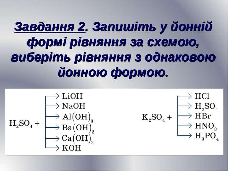 Завдання 2. Запишіть у йонній формі рівняння за схемою, виберіть рівняння з о...
