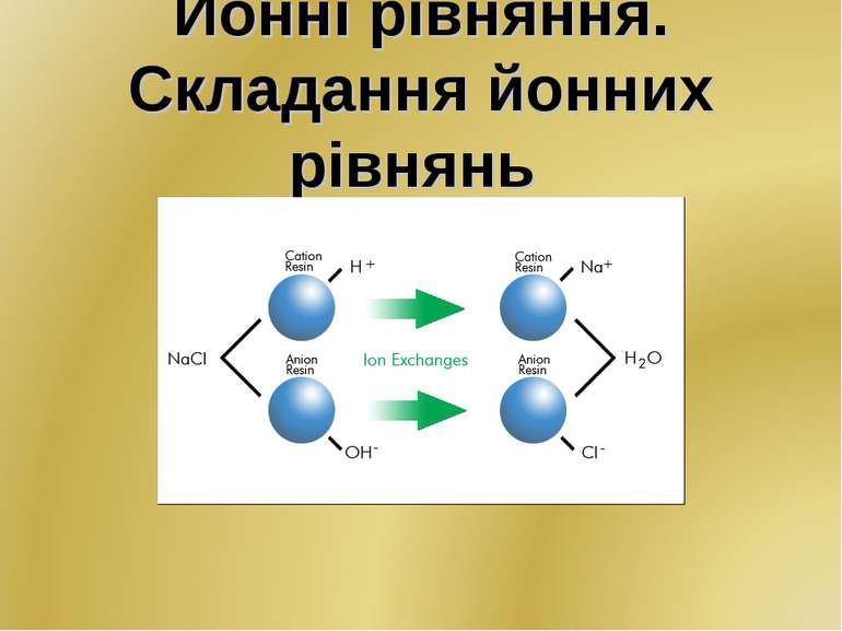 Йонні рівняння. Складання йонних рівнянь