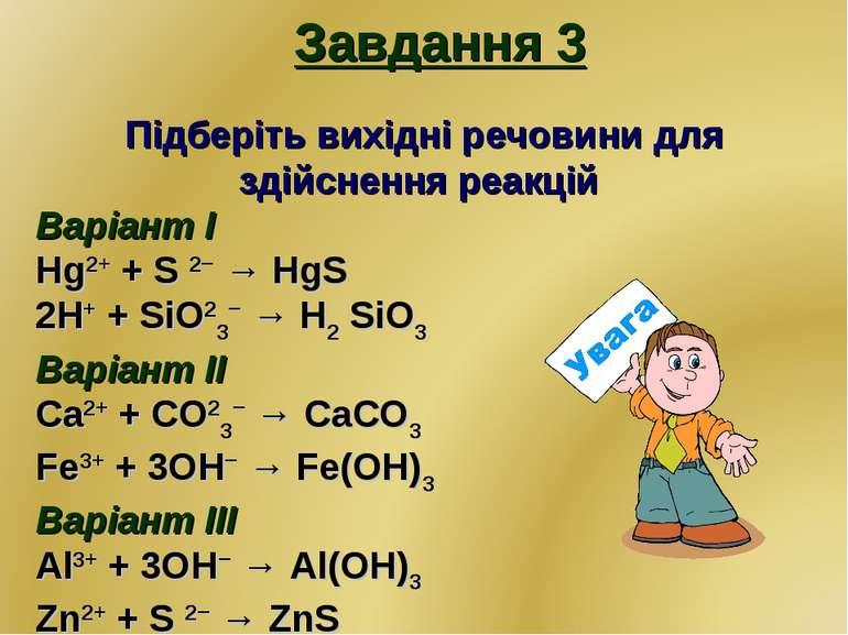 Завдання 3 Підберіть вихідні речовини для здійснення реакцій Варіант І Hg2+ +...