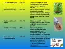 Сілурійський період 443–416 Поява круглоротих і риб, поширення губок, вихід н...