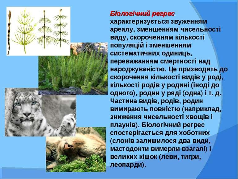 Біологічний регрес характеризується звуженням ареалу, зменшенням чисельності ...