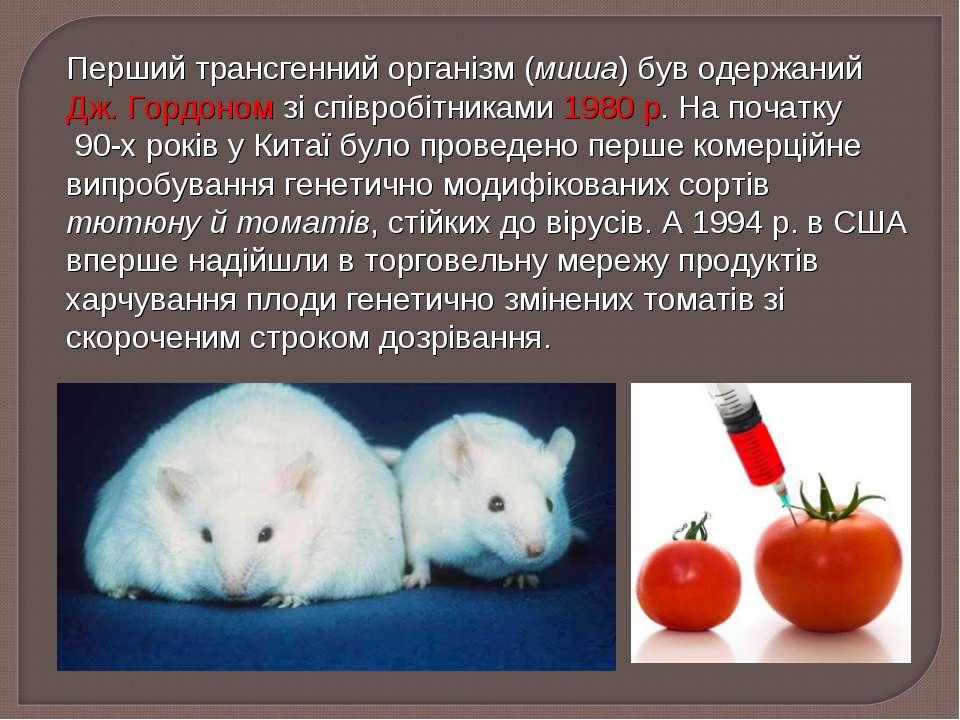 Перший трансгенний організм (миша) був одержаний Дж. Гордоном зі співробітник...