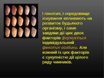 І генотип, і середовище існування впливають на розвиток будьякого організму, ...