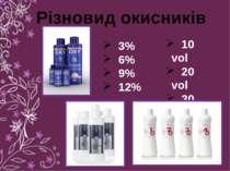 Різновид окисників 3% 6% 9% 12% 10 vol 20 vol 30 vol 40 vol