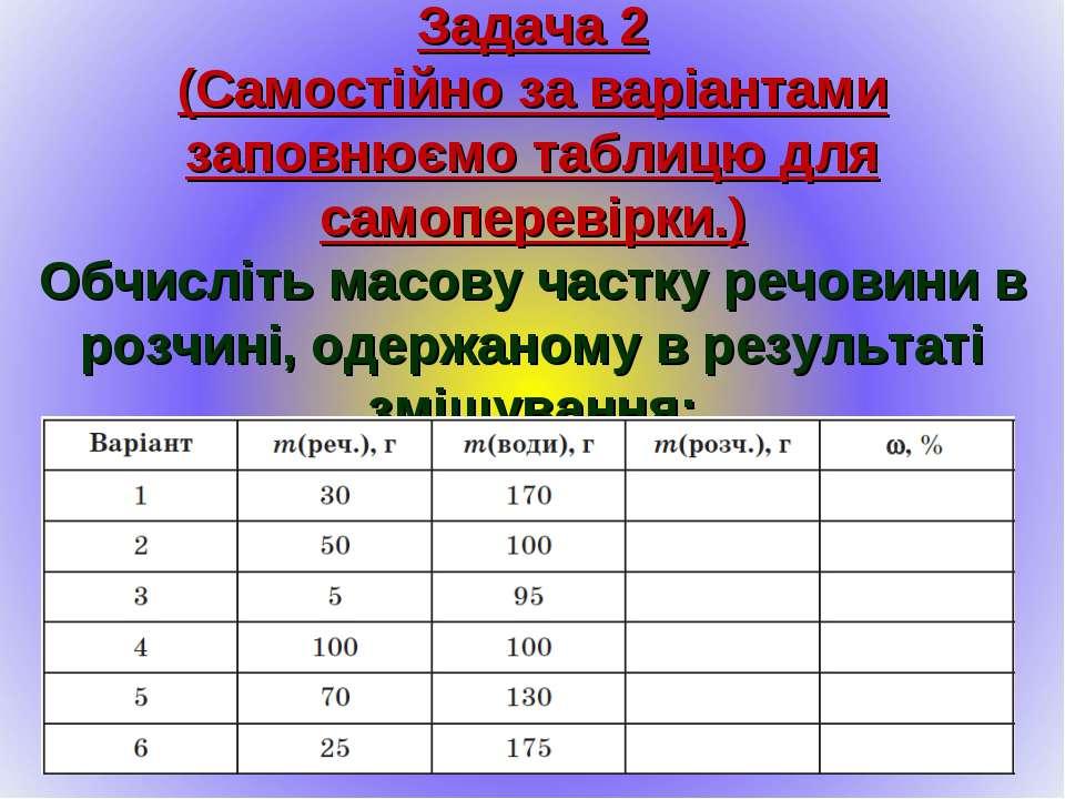 Задача 2 (Самостійно за варіантами заповнюємо таблицю для самоперевірки.) Обч...