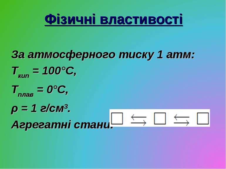 Фізичні властивості За атмосферного тиску 1 атм: Ткип = 100°С, Тплав = 0°С, ρ...