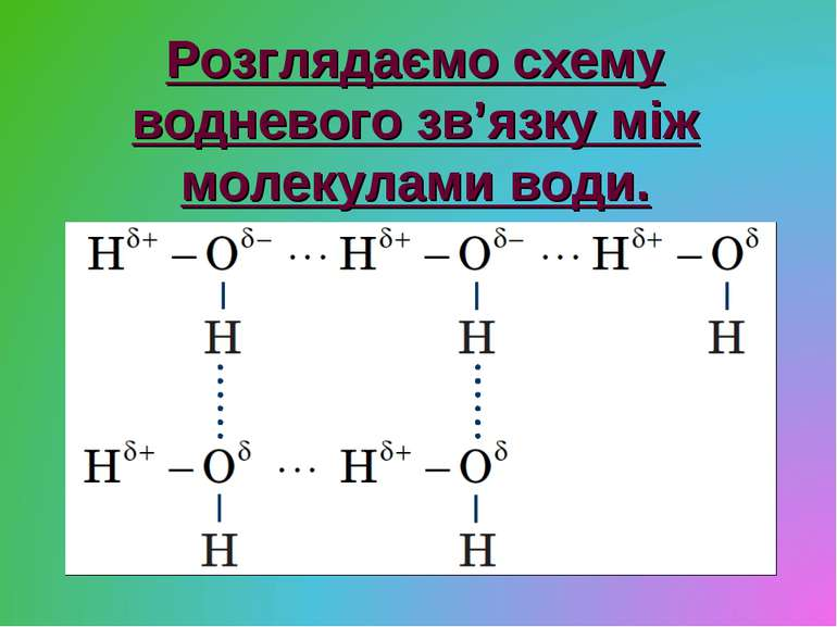 Розглядаємо схему водневого зв'язку між молекулами води.