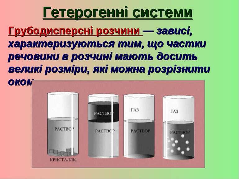 Гетерогенні системи Грубодисперсні розчини — зависі, характеризуються тим, що...