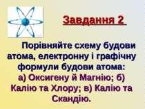 Завдання 2 Порівняйте схему будови атома, електронну і графічну формули будов...